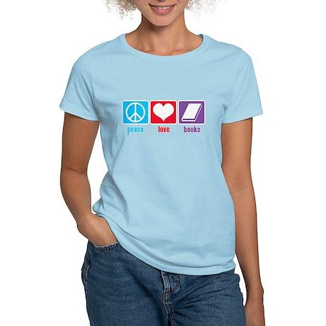 Peace Love Books Women's Light T-Shirt