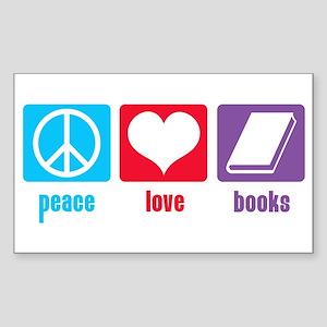 Peace Love Books Rectangle Sticker