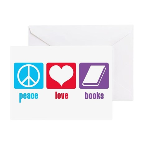 Peace Love Books Greeting Cards (Pk of 10)