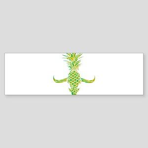 Green Pine Bull Skull Bumper Sticker