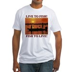 LIVE TO FISH! Fitted T-Shirt