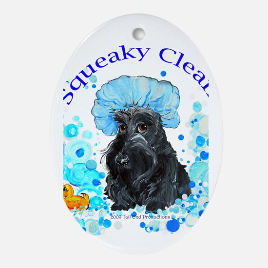 Scottish Terrier Bubble Bath Oval Ornament