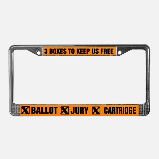 3 BOXES TO KEEP US FREE! License Plate Frame