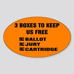 3 BOXES TO KEEP US FREE! Sticker (Oval)