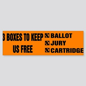 3 BOXES TO KEEP US FREE! Sticker (Bumper)