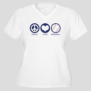 Peace Love Baseball Women's Plus Size V-Neck T-Shi