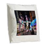 New York Burlap Throw Pillow