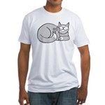 Gray/White ASL Kitty Fitted T-Shirt