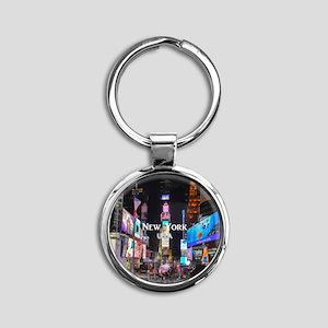 New York Round Keychain
