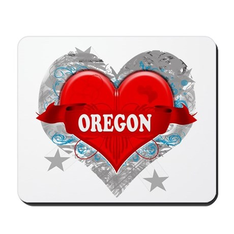 My Heart Oregon Vector Style Mousepad