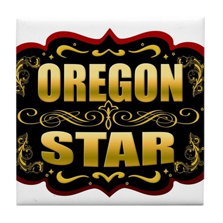 Oregon Star Gold Badge Seal Tile Coaster