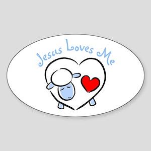 Jesus Loves Me - Blue Lamb Oval Sticker