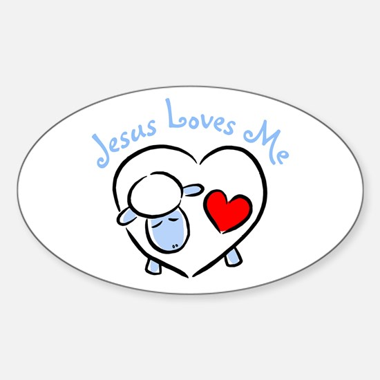 Jesus Loves Me - Blue Lamb Oval Decal