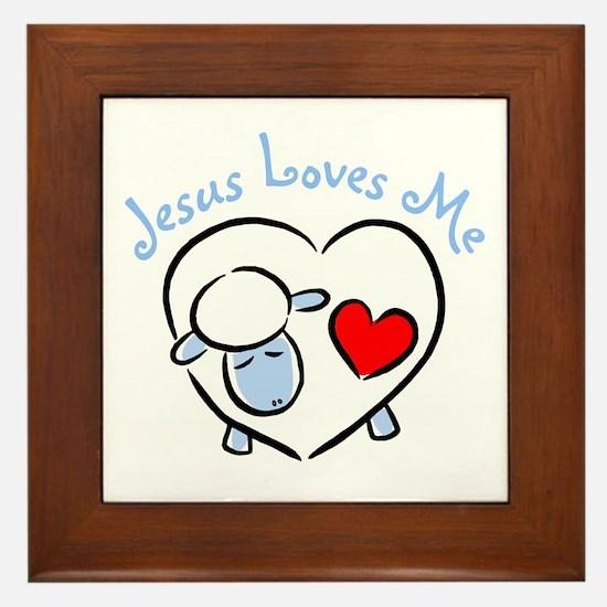 Jesus Loves Me - Blue Lamb Framed Tile