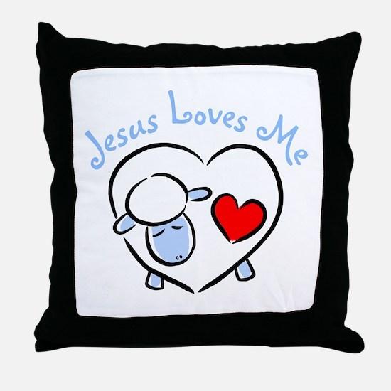 Jesus Loves Me - Blue Lamb Throw Pillow