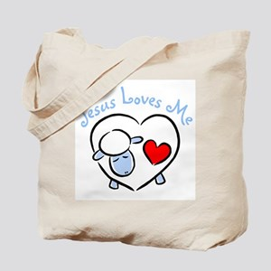 Jesus Loves Me - Blue Lamb Tote Bag