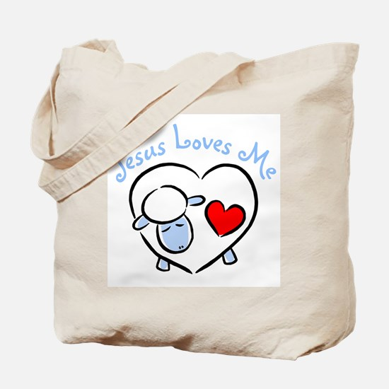 Jesus Loves Me - Blue Lamb Tote Bag