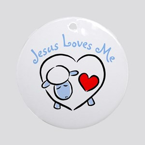 Jesus Loves Me - Blue Lamb Ornament (Round)