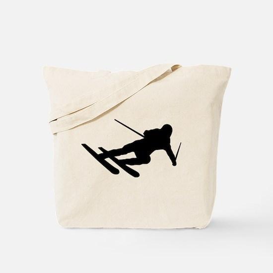 Black Downhill Ski Skiing Tote Bag