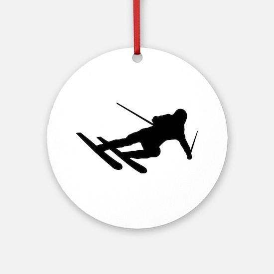 Black Downhill Ski Skiing Ornament (Round)