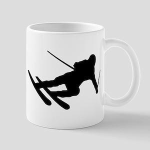 Black Downhill Ski Skiing Mug