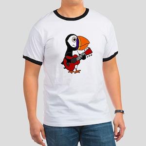 Funny Puffin Bird Playing Guitar T-Shirt