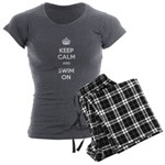 Keep Calm and Swim On Women's Charcoal Pajamas