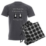 Christmas Penguins Men's Charcoal Pajamas