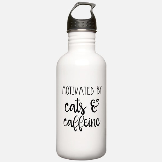 Motivated by Cats and Caffeine Water Bottle
