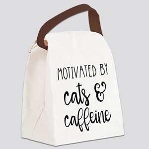 Motivated by Cats and Caffeine Canvas Lunch Bag