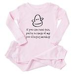Poo-Flinging Monkey - Baby /Toddler Pink Pajamas