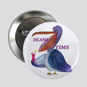 "Island Time Pelican 2.25"" Button"