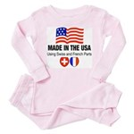 Swiss and French White Toddler Pink Pajamas