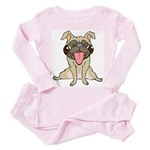 Happy Pug Toddler Pink Pajamas