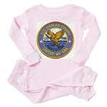 USS HARLAN COUNTY Infant Pink Pajamas