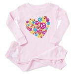 Love & Peace in Heart Toddler Pink Pajamas