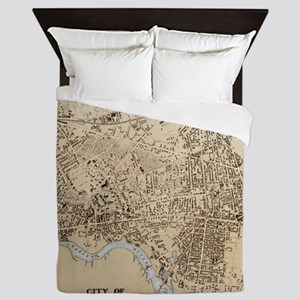 Vintage Map of Cambridge Massachusetts Queen Duvet