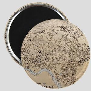 Vintage Map of Cambridge Massachusetts (18 Magnets