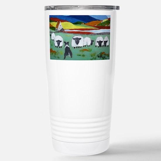Cute Irish Sheep Scene Stainless Steel Travel Mug