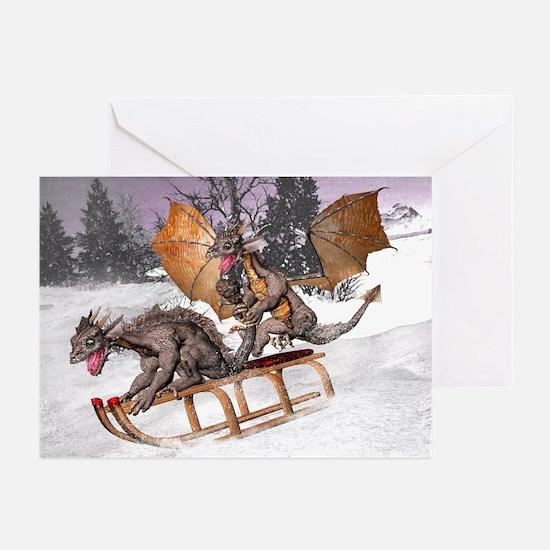 Sledding Dragons Greeting Cards (Pk of 10)