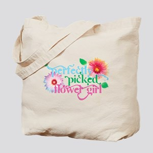 Perfectly Picked Flower Girl Blue Tote Bag