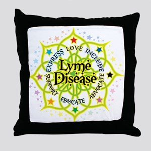 Lyme Disease Lotus Throw Pillow