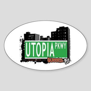 UTOPIA PARKWAY, QUEENS, NYC Oval Sticker
