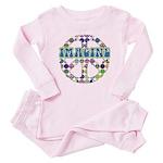 Retro Peace Sign Imagine Baby Pajamas