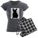 French Bulldog Silhouette Women's Charcoal Pajamas