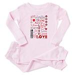 Love Words and Hearts Baby Pajamas