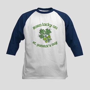 Born Lucky on ST PATRICKS DAY Kids Baseball Jersey