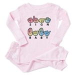 Captioned SIGN BABY SQ Baby Pajamas