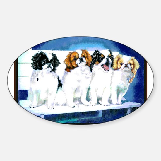 Japanese Chin Puppies Oval Decal