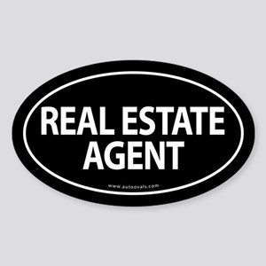 REAL ESTATE AGENT Euro Style Oval Sticker -Black